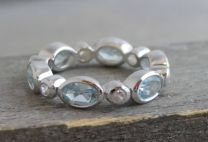 Blue Topaz and Zircon Silver Band