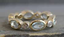 Blue Topaz and Zircon Vermeil Band