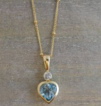 Blue Topaz and Zircon Heart Vermeil Necklace