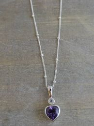 Amethyst  and Zircon Sterling Silver Heart Necklace