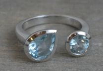 Double Blue Topaz Sterling Silver Ring