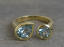 Double Blue Topaz Gold Plated  Sterling Silver Ring