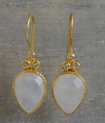 Pear Shape Moonstone and Diamond Vermeil Earrings