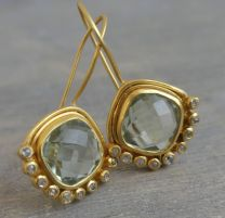 Cushion Cut Prasiolite and Diamond Vermeil Earrings