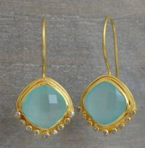 Cushion Cut Aqua Chalcedony and Diamond Vermeil Earrings