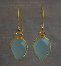 Pear Shape Aqua Chalcedony and Diamond Vermeil Earrings