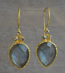 Pear Shape Labradorite and Diamond Vermeil Earrings